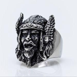 Viking Warrior Head Biker Ring